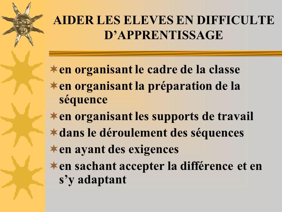 AIDER LES ELEVES EN DIFFICULTE D'APPRENTISSAGE