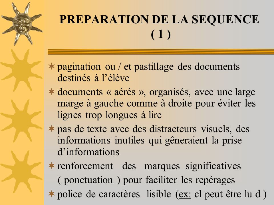PREPARATION DE LA SEQUENCE ( 1 )
