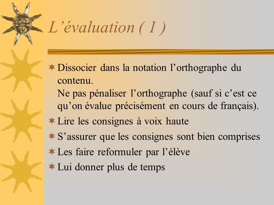 L'évaluation ( 1 )