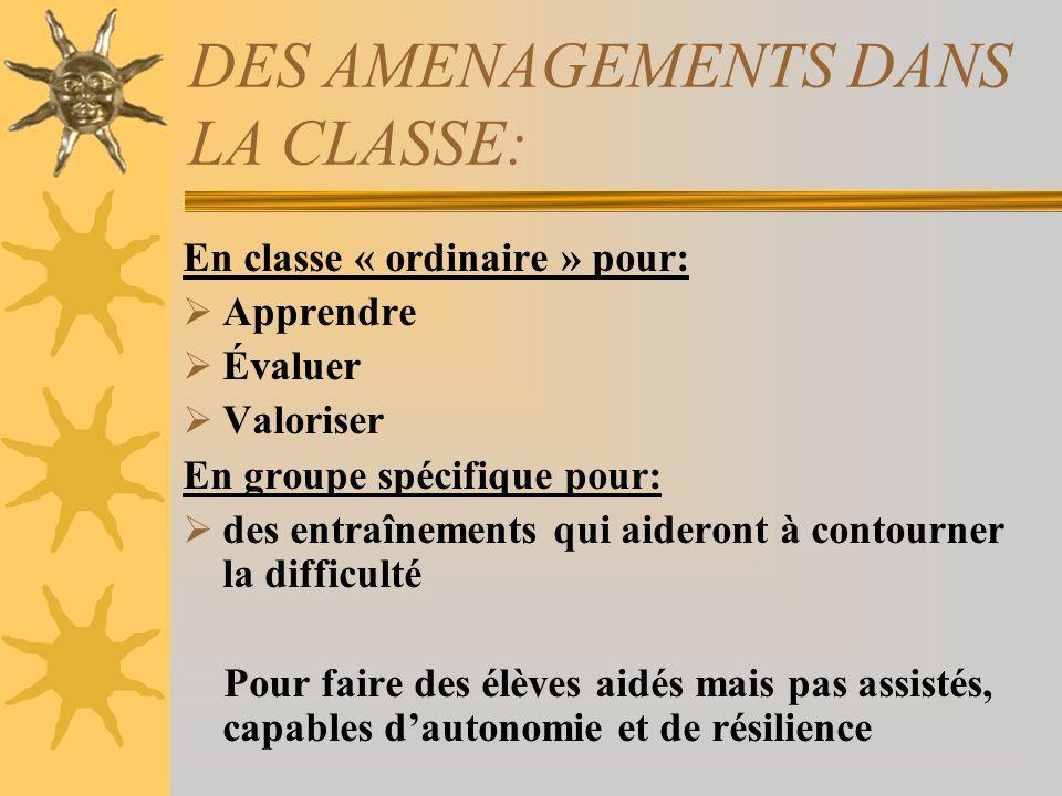 DES AMENAGEMENTS DANS LA CLASSE: