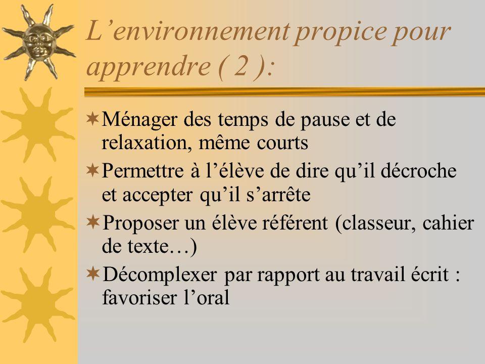 L'environnement propice pour apprendre ( 2 ):