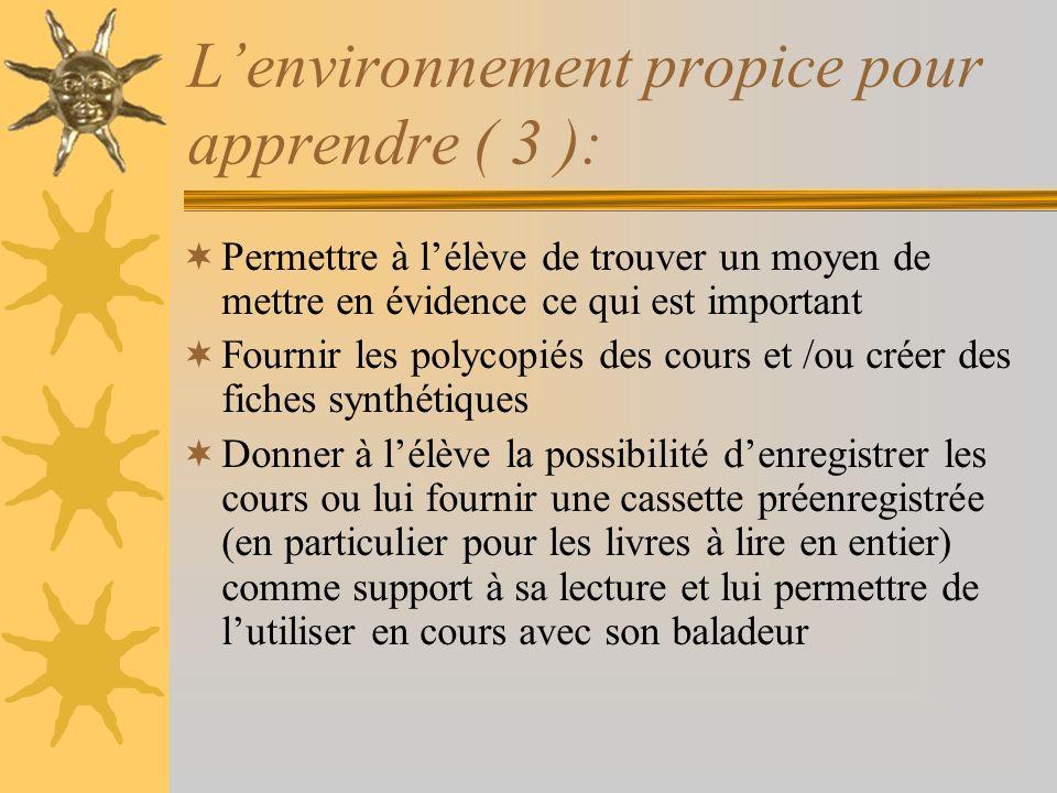 L'environnement propice pour apprendre ( 3 ):