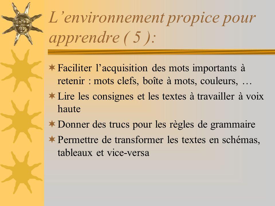 L'environnement propice pour apprendre ( 5 ):