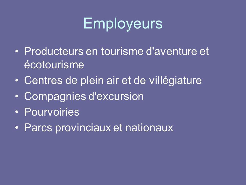 Employeurs Producteurs en tourisme d aventure et écotourisme