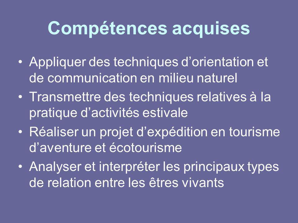 Compétences acquises Appliquer des techniques d'orientation et de communication en milieu naturel.