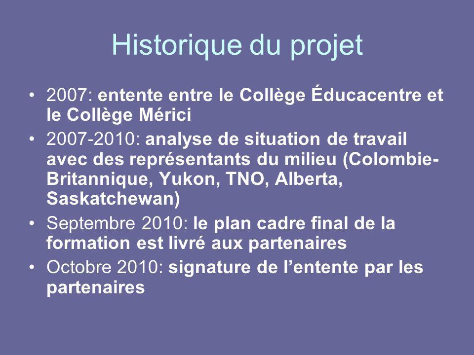 Historique du projet 2007: entente entre le Collège Éducacentre et le Collège Mérici.