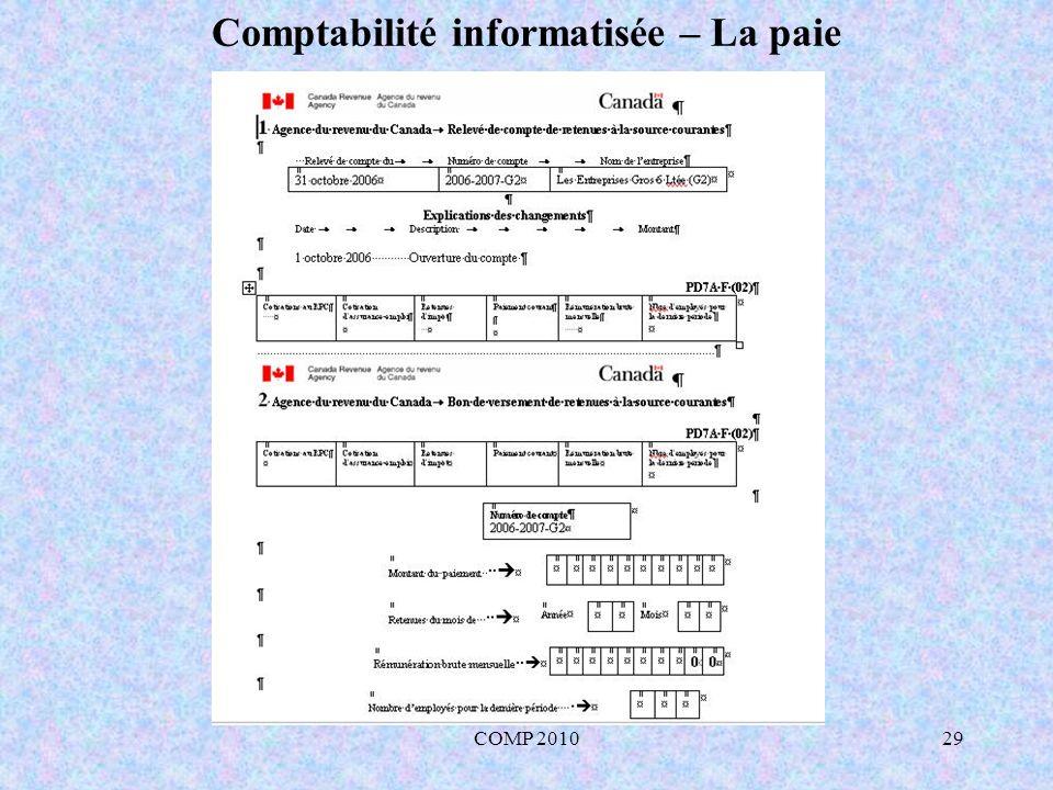 Comptabilité informatisée – La paie