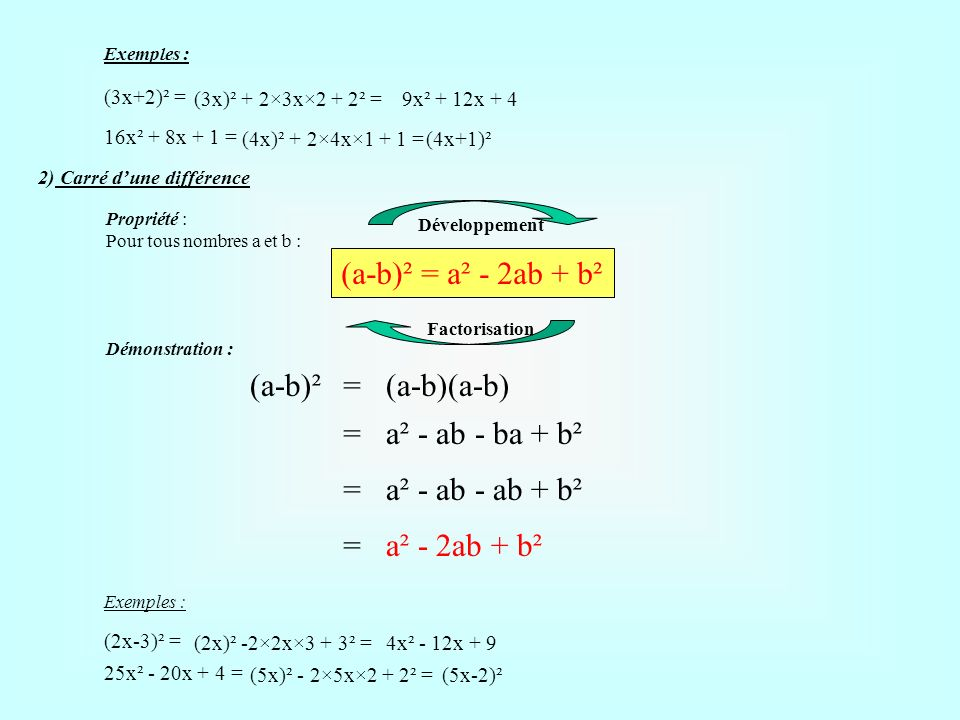 (a-b)² = a² - 2ab + b² (a-b)² = (a-b)(a-b) = a² - ab - ba + b² =