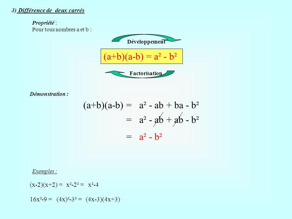 (a+b)(a-b) = a² - b² (a+b)(a-b) = a² - ab + ba - b² =