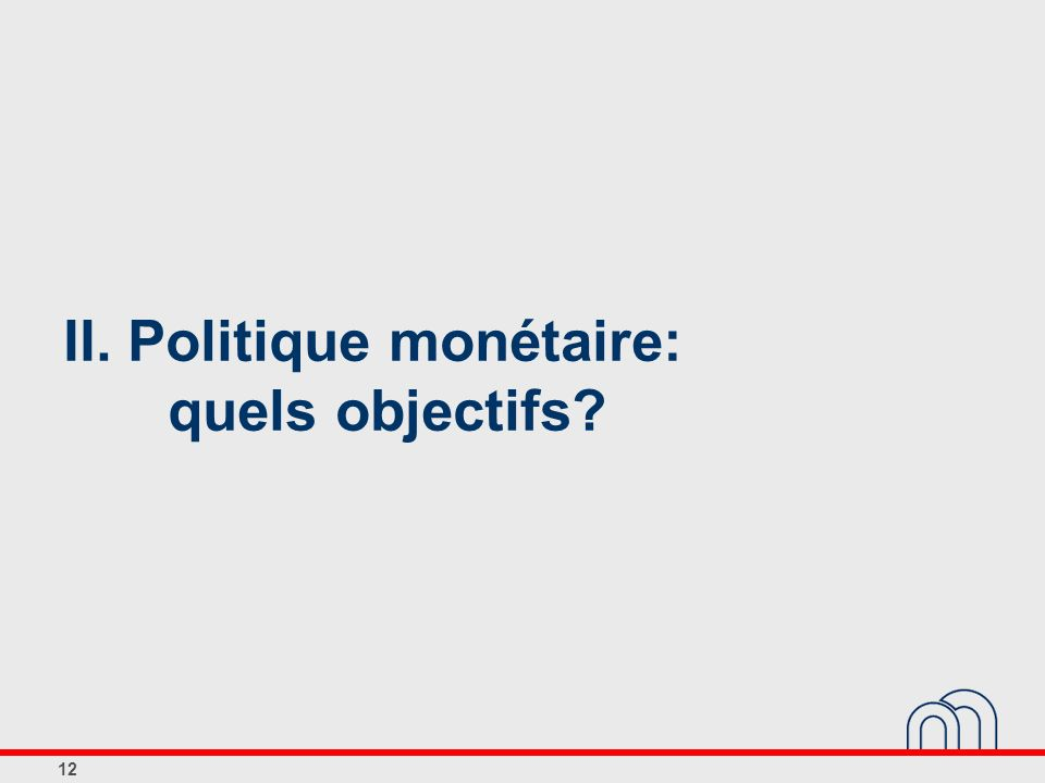 II. Politique monétaire: quels objectifs