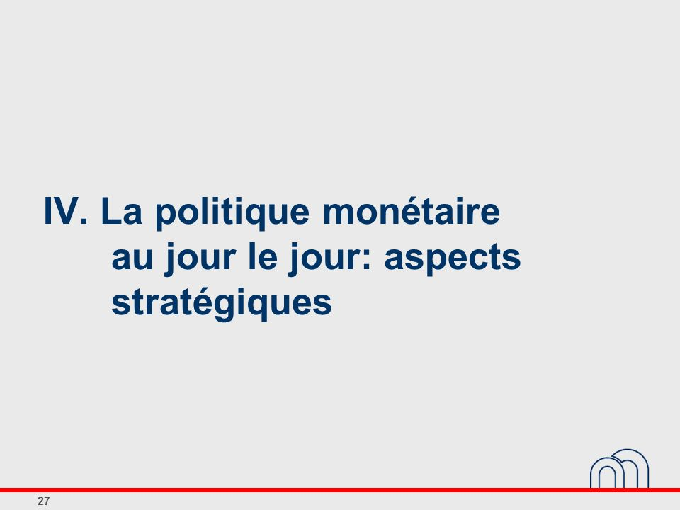 IV. La politique monétaire au jour le jour: aspects stratégiques