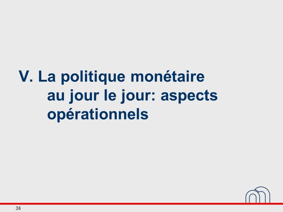 V. La politique monétaire au jour le jour: aspects opérationnels