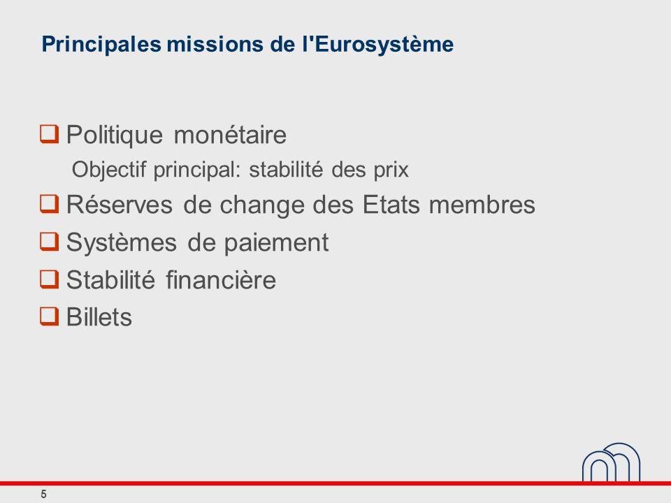 Principales missions de l Eurosystème