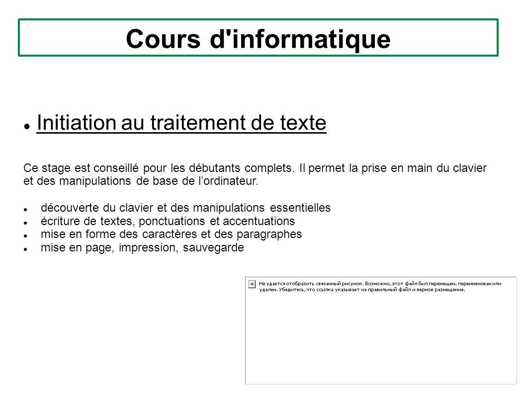 Cours d informatique Initiation au traitement de texte