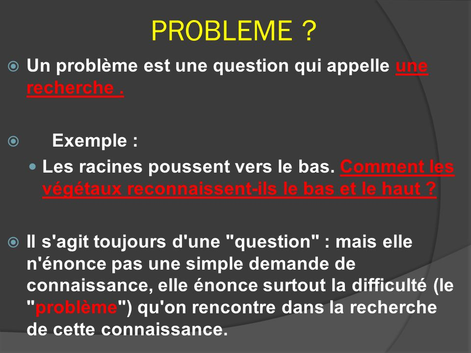 PROBLEME Un problème est une question qui appelle une recherche .