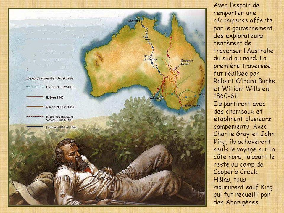 Avec l'espoir de remporter une récompense offerte par le gouvernement, des explorateurs tentèrent de traverser l'Australie du sud au nord. La première traversée fut réalisée par Robert O'Hara Burke et William Wills en 1860-61.