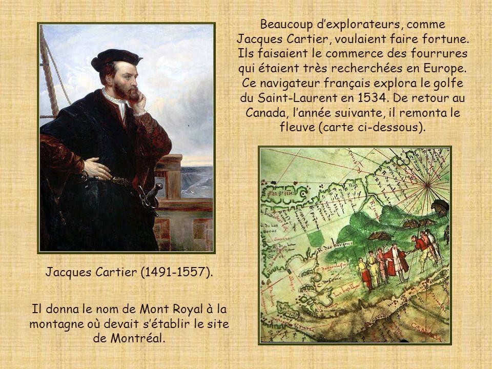 Beaucoup d'explorateurs, comme Jacques Cartier, voulaient faire fortune. Ils faisaient le commerce des fourrures qui étaient très recherchées en Europe. Ce navigateur français explora le golfe du Saint-Laurent en 1534. De retour au Canada, l'année suivante, il remonta le fleuve (carte ci-dessous).
