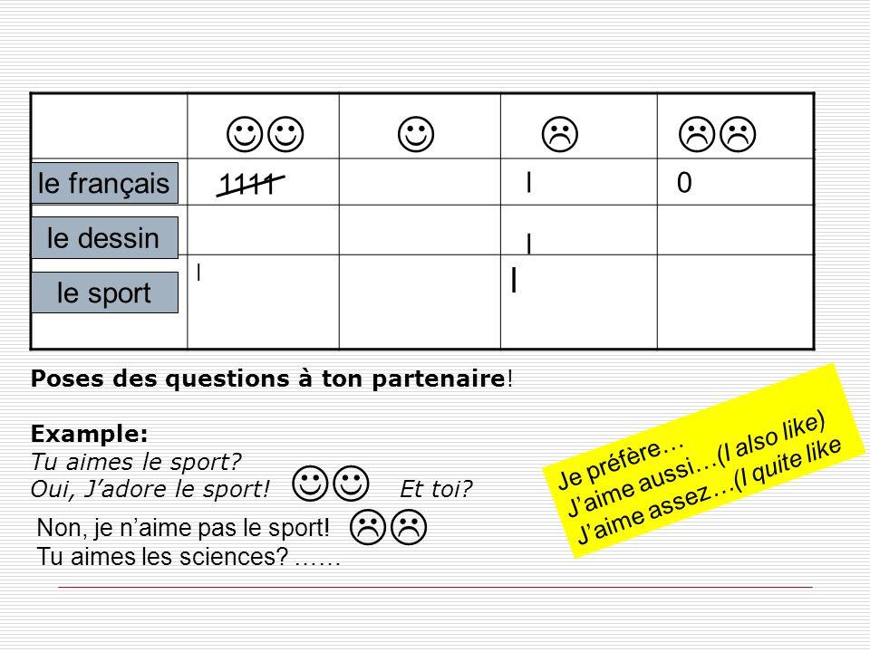       le français 1111 l le dessin l le sport
