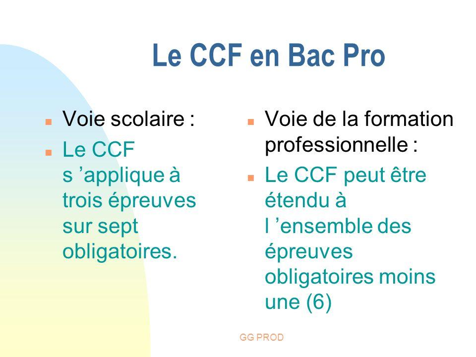 Le CCF en Bac Pro Voie scolaire :