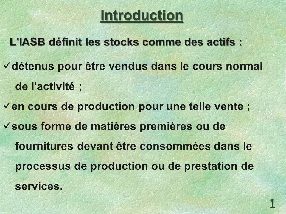 Introduction L IASB définit les stocks comme des actifs :