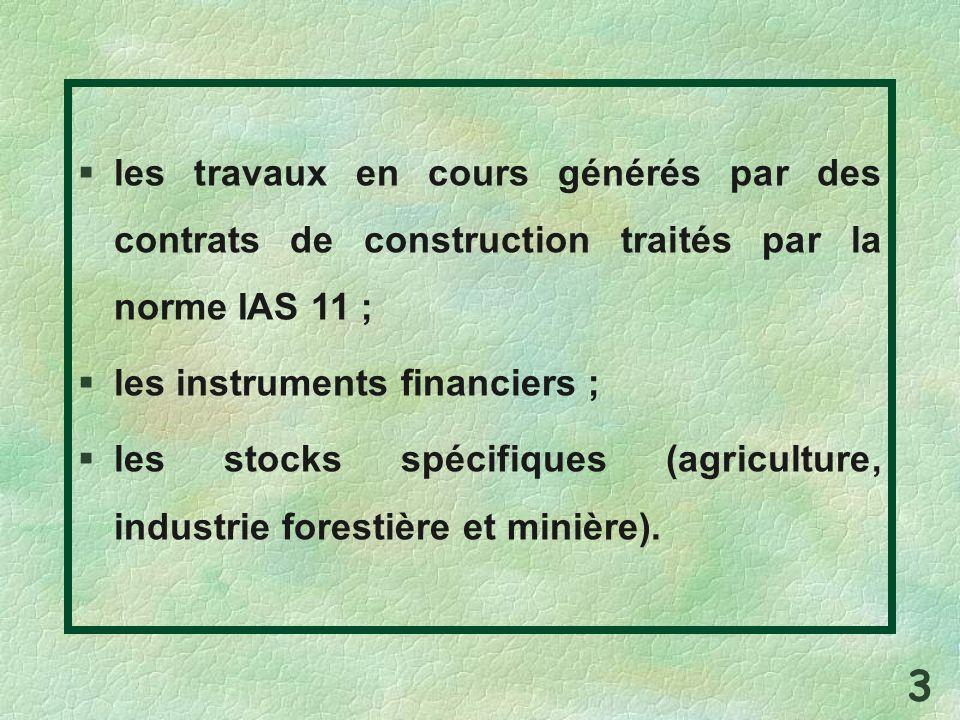 les travaux en cours générés par des contrats de construction traités par la norme IAS 11 ;