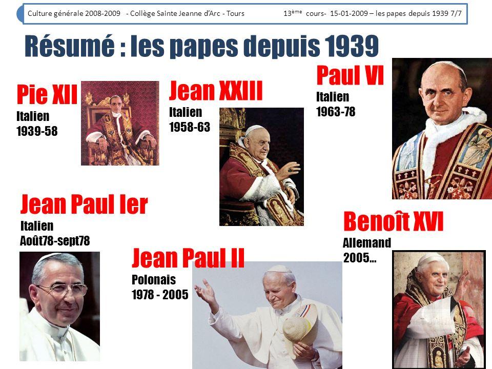 Résumé : les papes depuis 1939