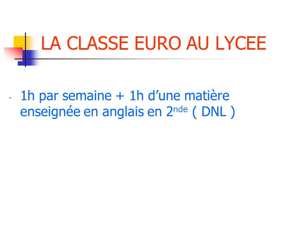 LA CLASSE EURO AU LYCEE 1h par semaine + 1h d'une matière enseignée en anglais en 2nde ( DNL )