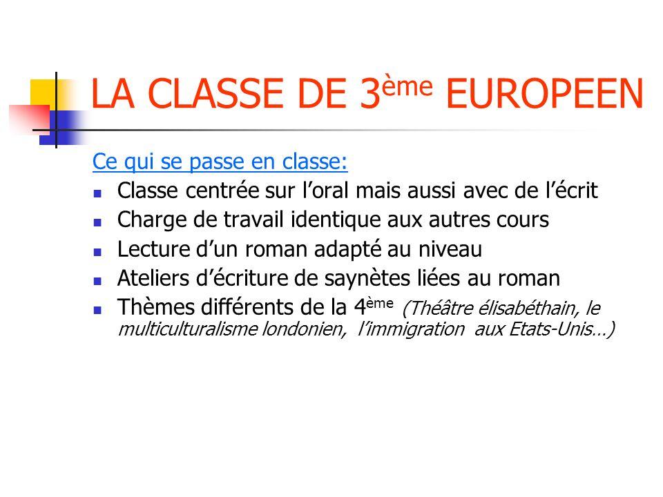 LA CLASSE DE 3ème EUROPEEN