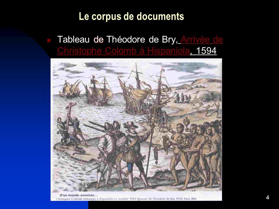 Le corpus de documents Tableau de Théodore de Bry, Arrivée de Christophe Colomb à Hispaniola, 1594