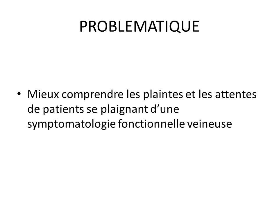 PROBLEMATIQUE Mieux comprendre les plaintes et les attentes de patients se plaignant d'une symptomatologie fonctionnelle veineuse.