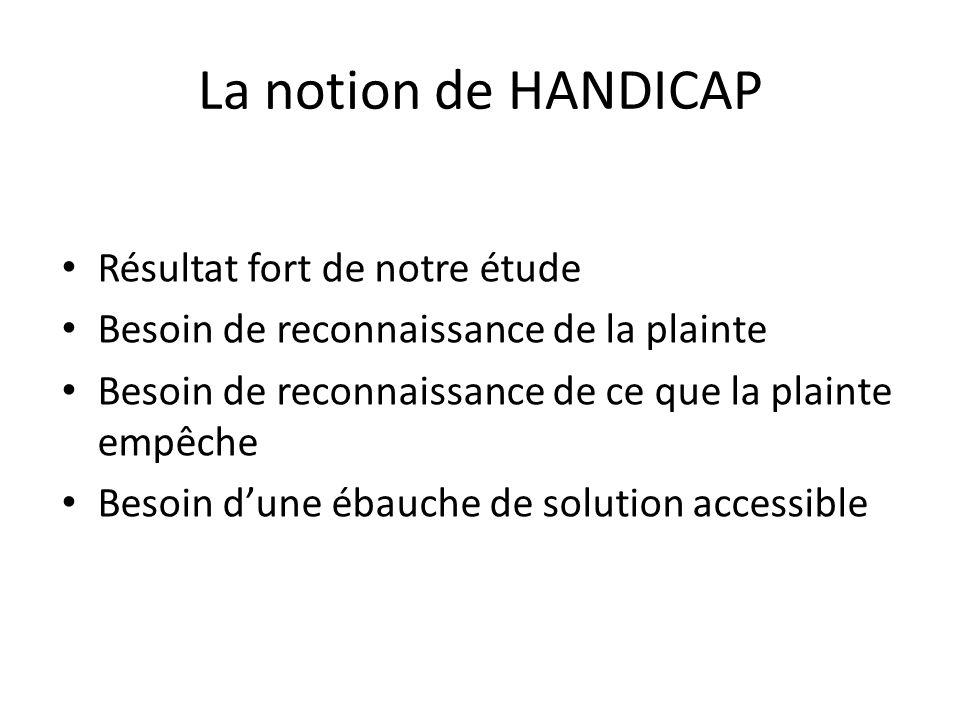 La notion de HANDICAP Résultat fort de notre étude