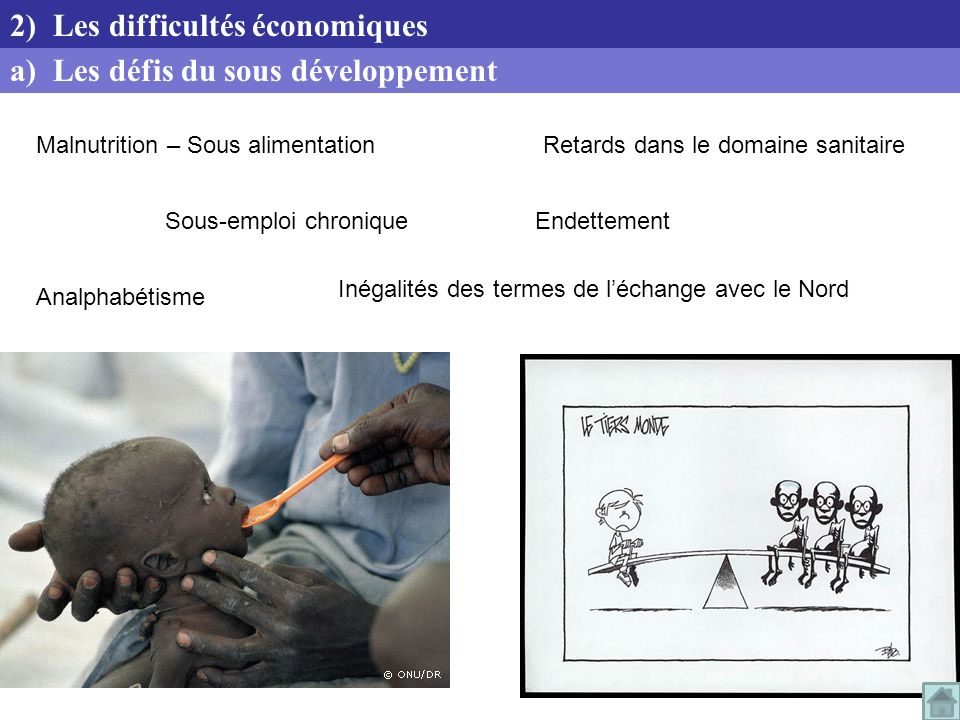 2) Les difficultés économiques a) Les défis du sous développement
