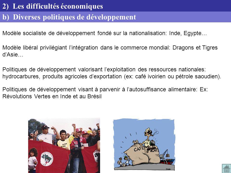2) Les difficultés économiques b) Diverses politiques de développement
