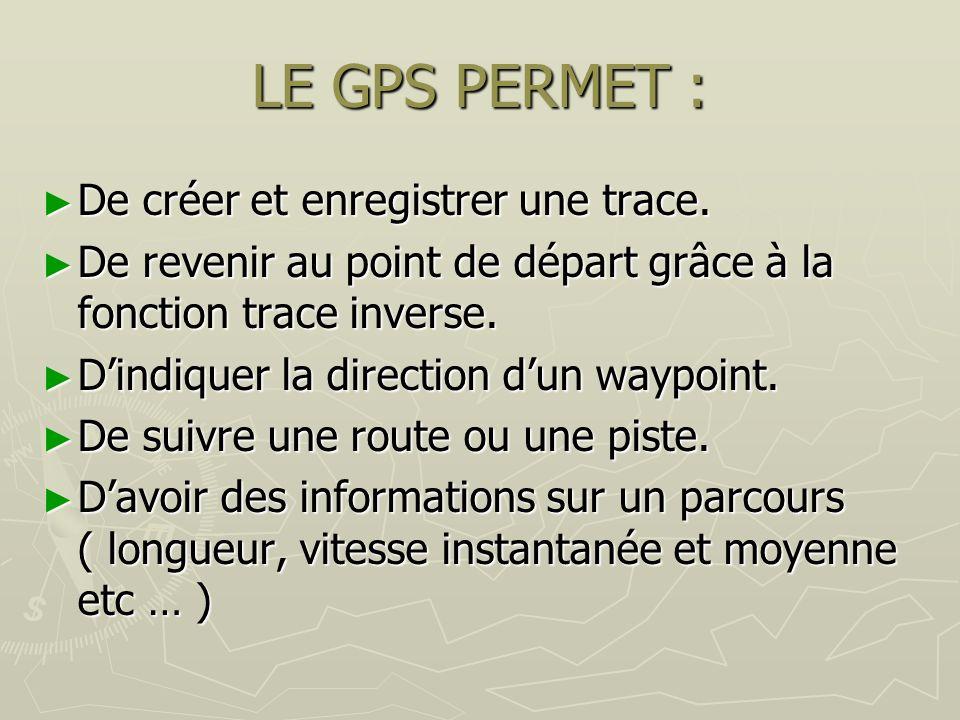 LE GPS PERMET : De créer et enregistrer une trace.