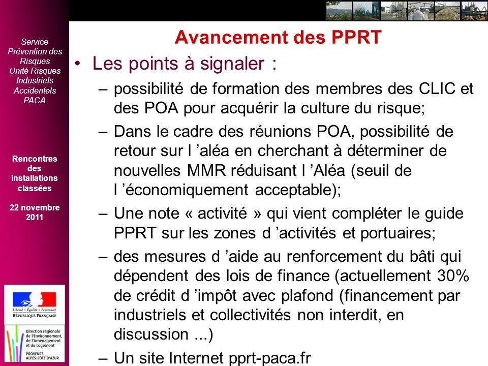 Avancement des PPRT Les points à signaler :