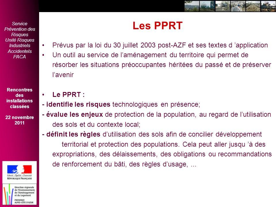 Les PPRT Prévus par la loi du 30 juillet 2003 post-AZF et ses textes d 'application.