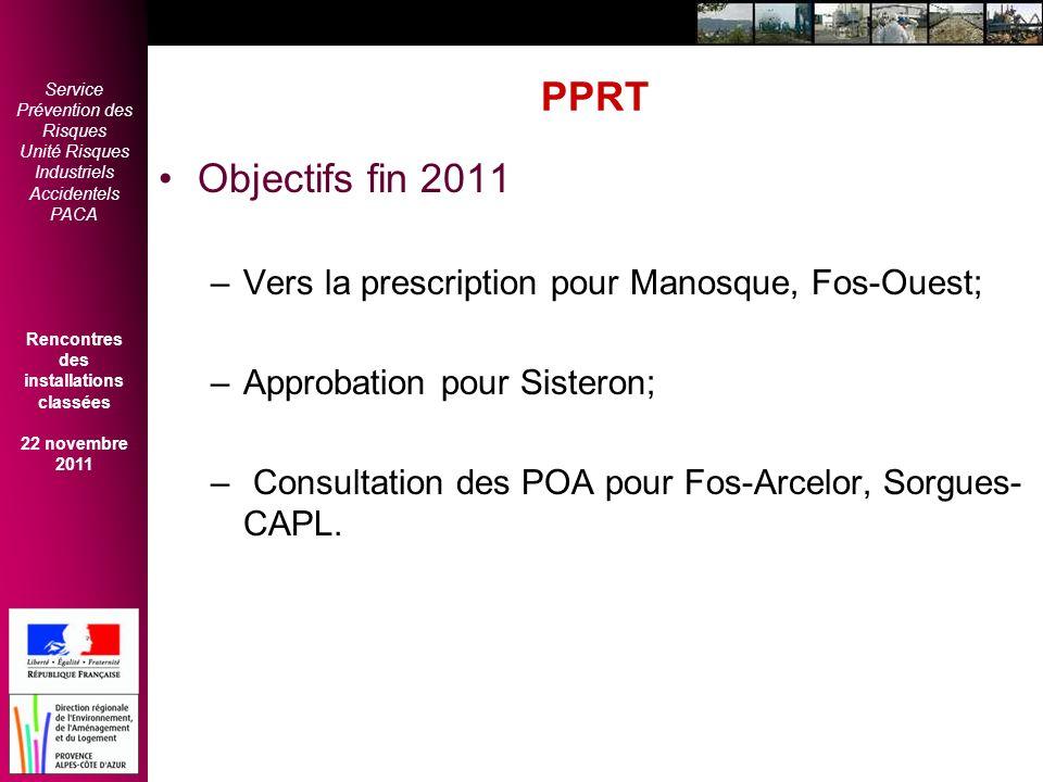 PPRT Objectifs fin 2011 Vers la prescription pour Manosque, Fos-Ouest;