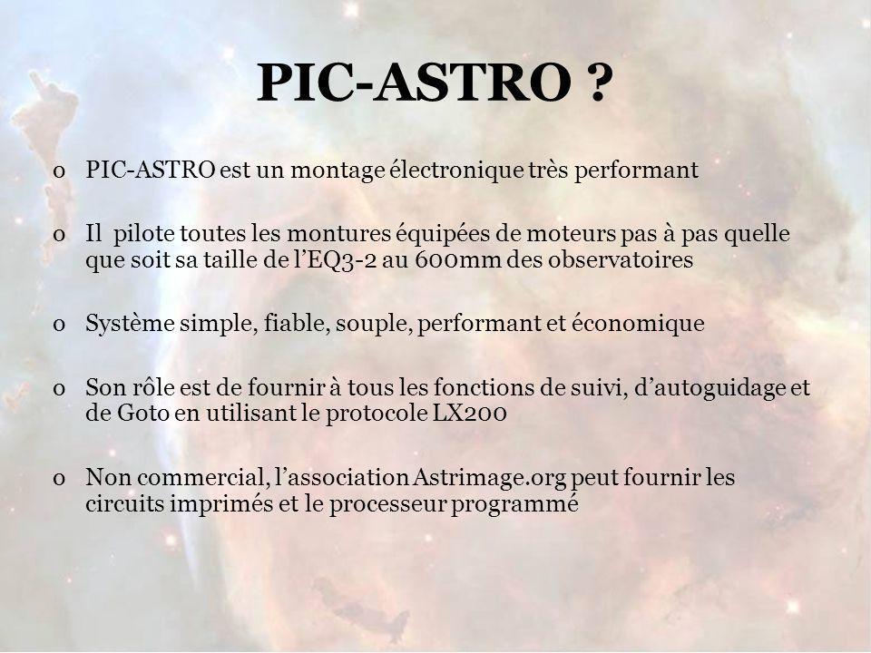 PIC-ASTRO PIC-ASTRO est un montage électronique très performant