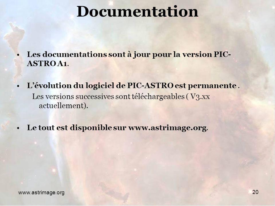 Documentation Les documentations sont à jour pour la version PIC-ASTRO A1. L'évolution du logiciel de PIC-ASTRO est permanente .