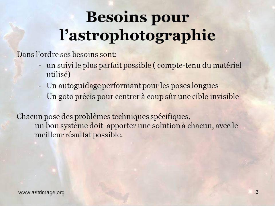 Besoins pour l'astrophotographie