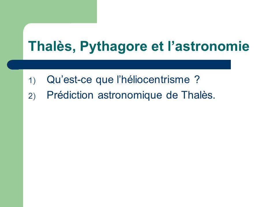 Thalès, Pythagore et l'astronomie