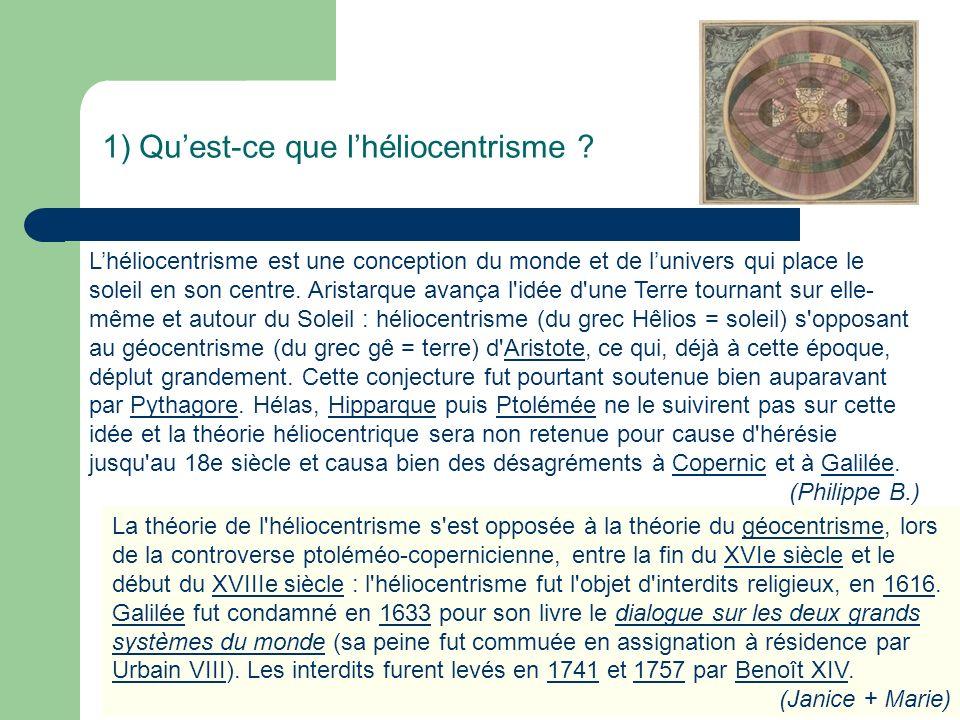 1) Qu'est-ce que l'héliocentrisme