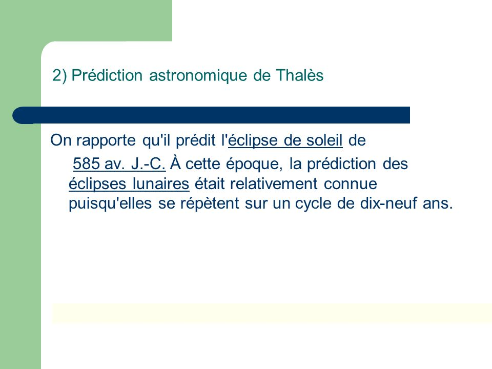 2) Prédiction astronomique de Thalès