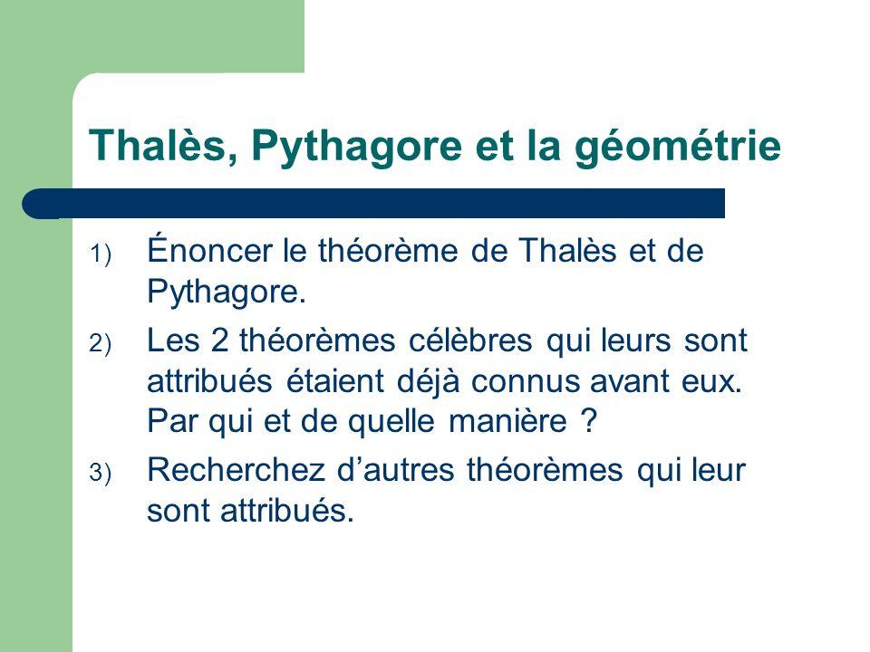 Thalès, Pythagore et la géométrie