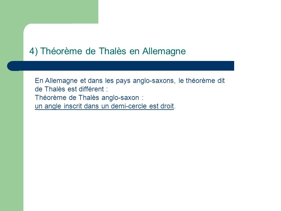 4) Théorème de Thalès en Allemagne
