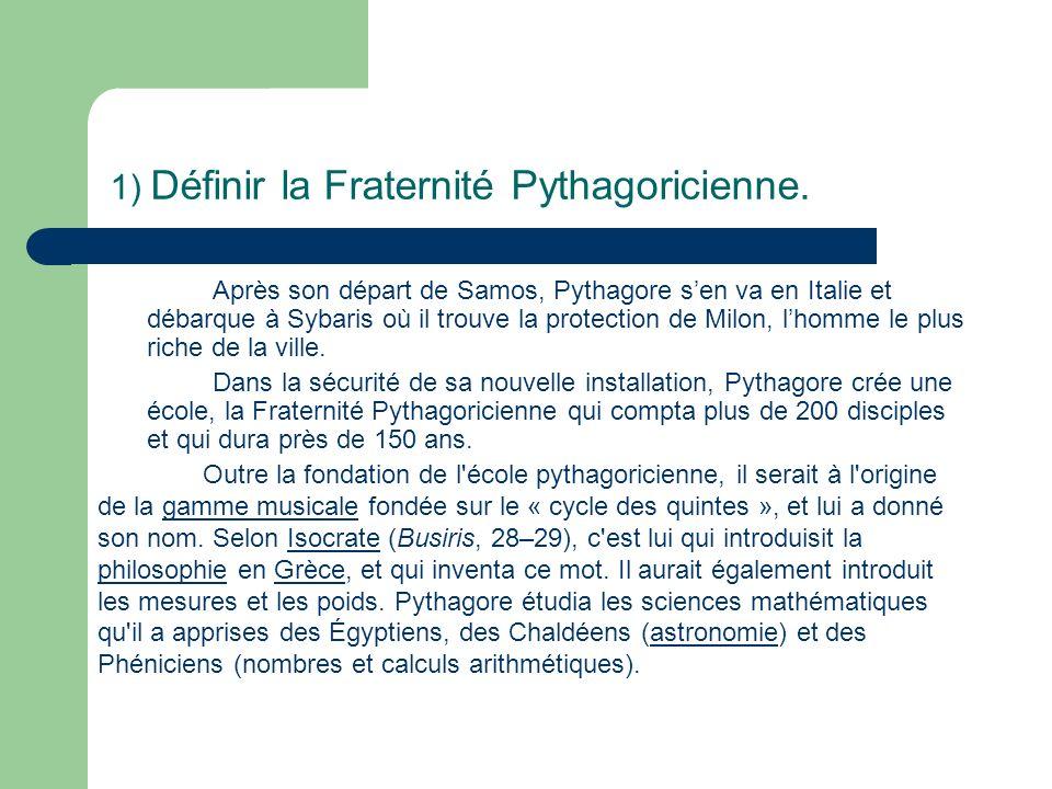 1) Définir la Fraternité Pythagoricienne.
