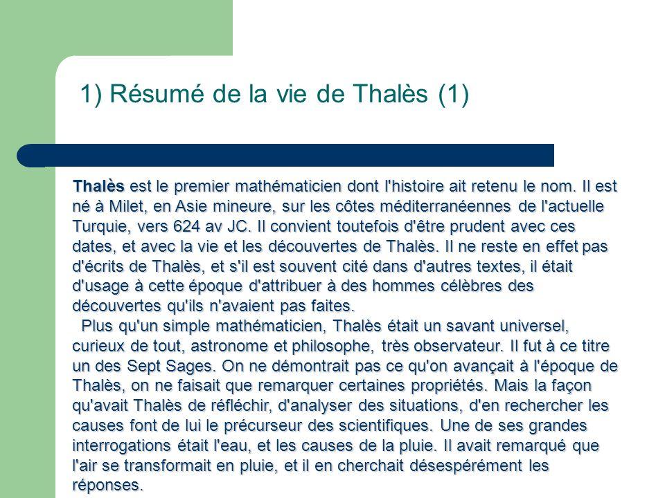 1) Résumé de la vie de Thalès (1)