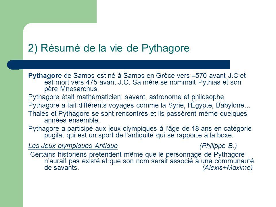 2) Résumé de la vie de Pythagore