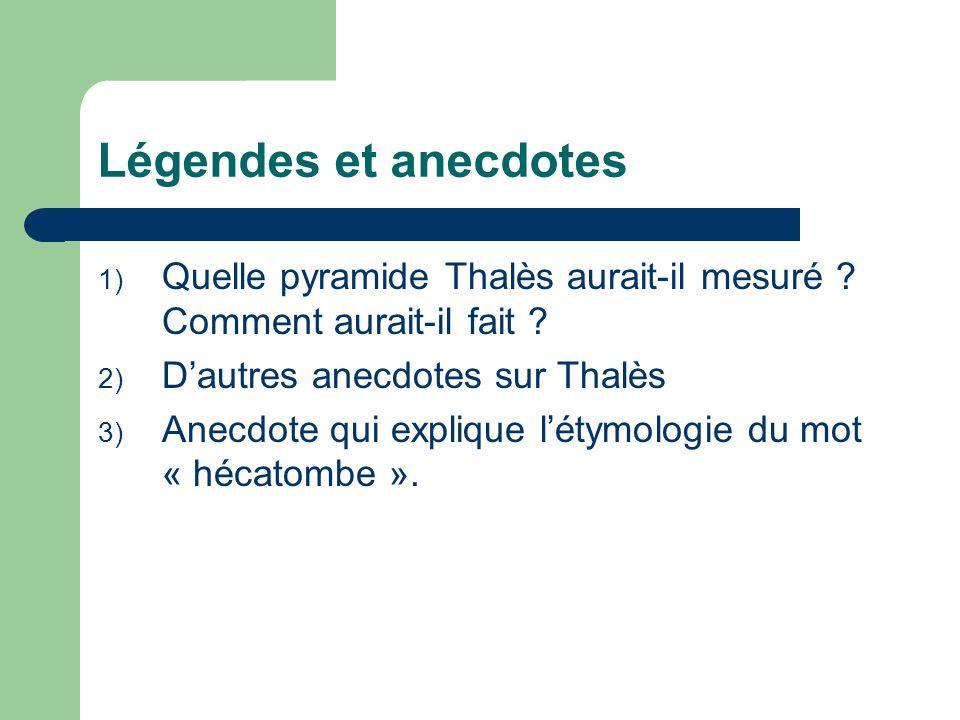 Légendes et anecdotes Quelle pyramide Thalès aurait-il mesuré Comment aurait-il fait D'autres anecdotes sur Thalès.