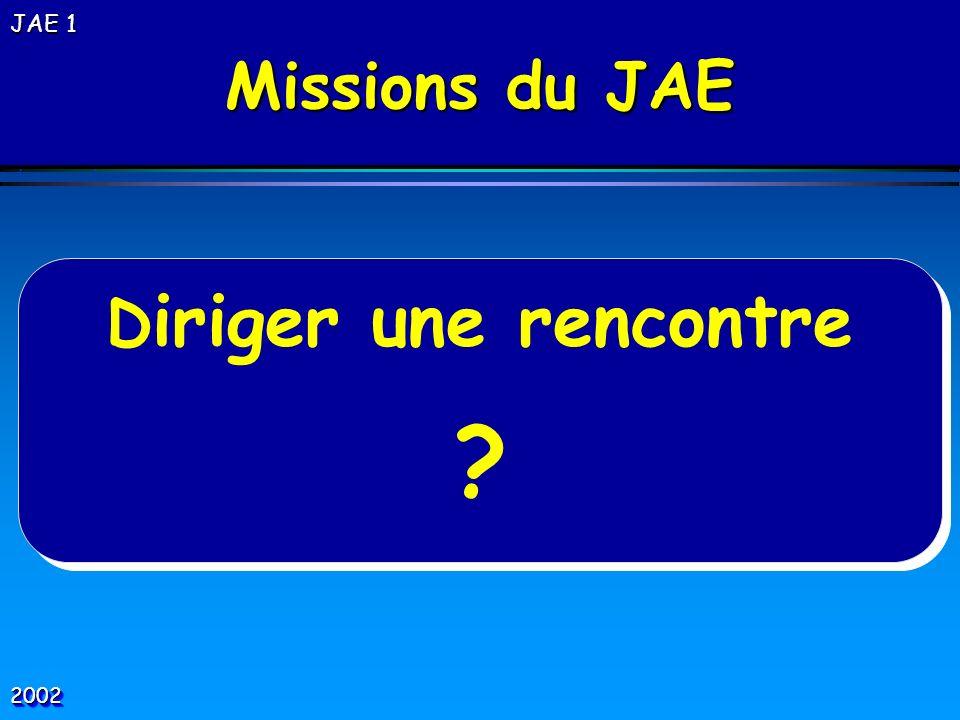 Missions du JAE Diriger une rencontre JAE 1  2002